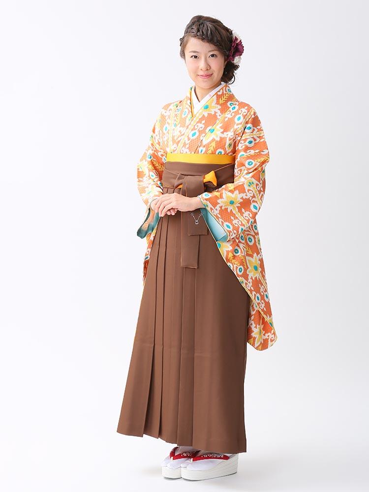 【高級卒業式袴レンタル】2-100 卒業式の袴レンタル・正絹二尺袖着物「オレンジ オリジナル柄」 サイズ オリジナル