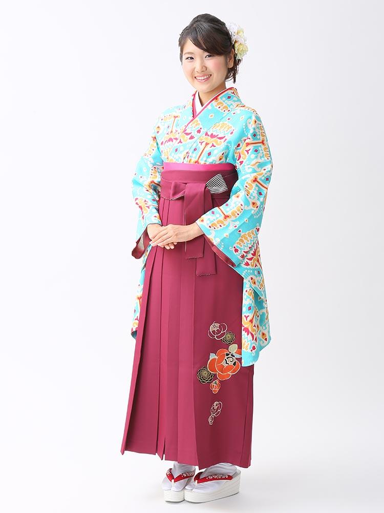 【高級卒業式袴レンタル】2-101 卒業式の袴レンタル・正絹二尺袖着物「鮮やか水色 オリジナル柄」 サイズ オリジナル