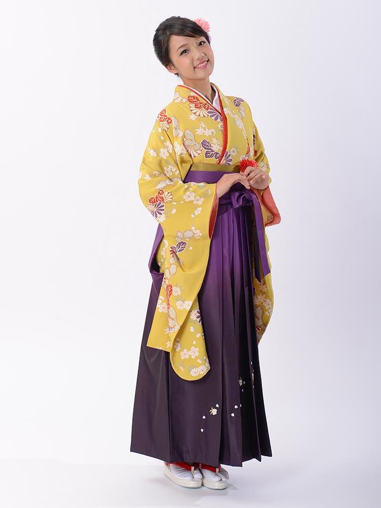 【高級卒業式袴レンタル】2-12 卒業式の袴レンタル・正絹二尺袖着物「黄色 横菊と小花」 サイズ 横菊