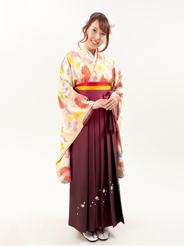 【高級卒業式袴レンタル】2-52 卒業式の袴レンタル・正絹二尺袖着物「黄色 花尽くし」 サイズ 花
