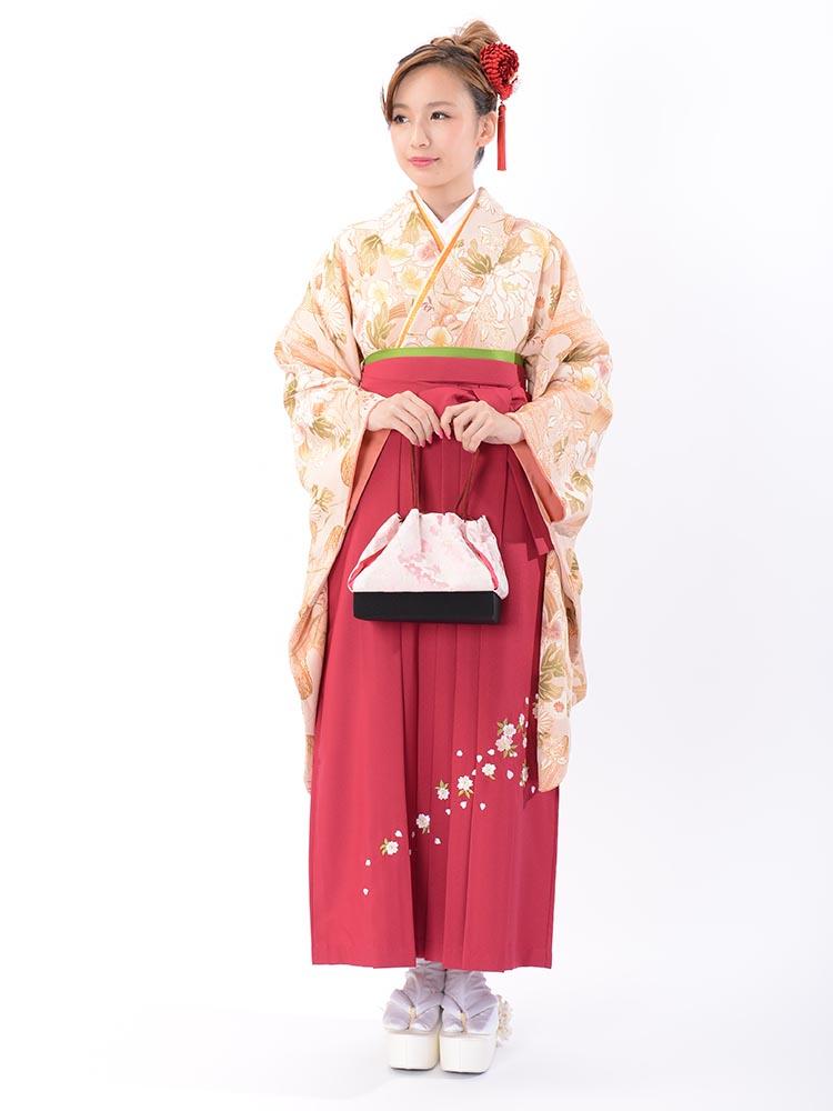 【高級卒業式袴レンタル】2-55 卒業式の袴レンタル・正絹二尺袖着物「ピンクベージュ 花」 サイズ 花