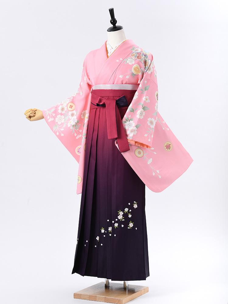 【高級卒業式袴レンタル】2-57 卒業式の袴レンタル・正絹二尺袖着物「鮮やかなピンク 古典柄」 サイズ 花
