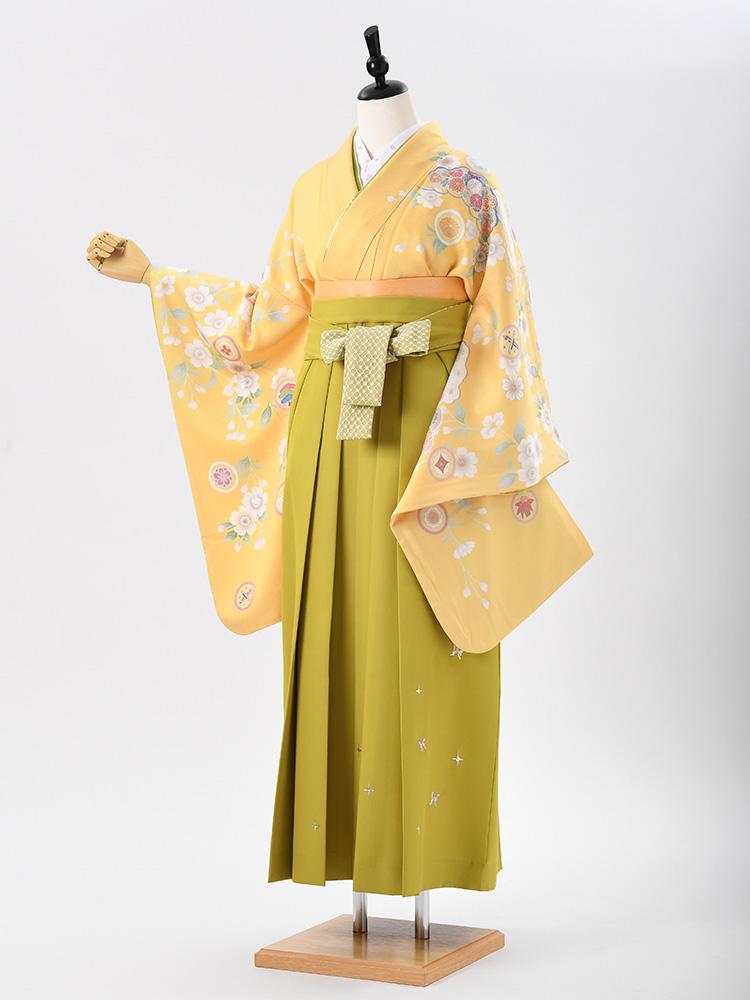 【高級卒業式袴レンタル】2-58 卒業式の袴レンタル・正絹二尺袖着物「明るい黄色 古典柄」 サイズ 花