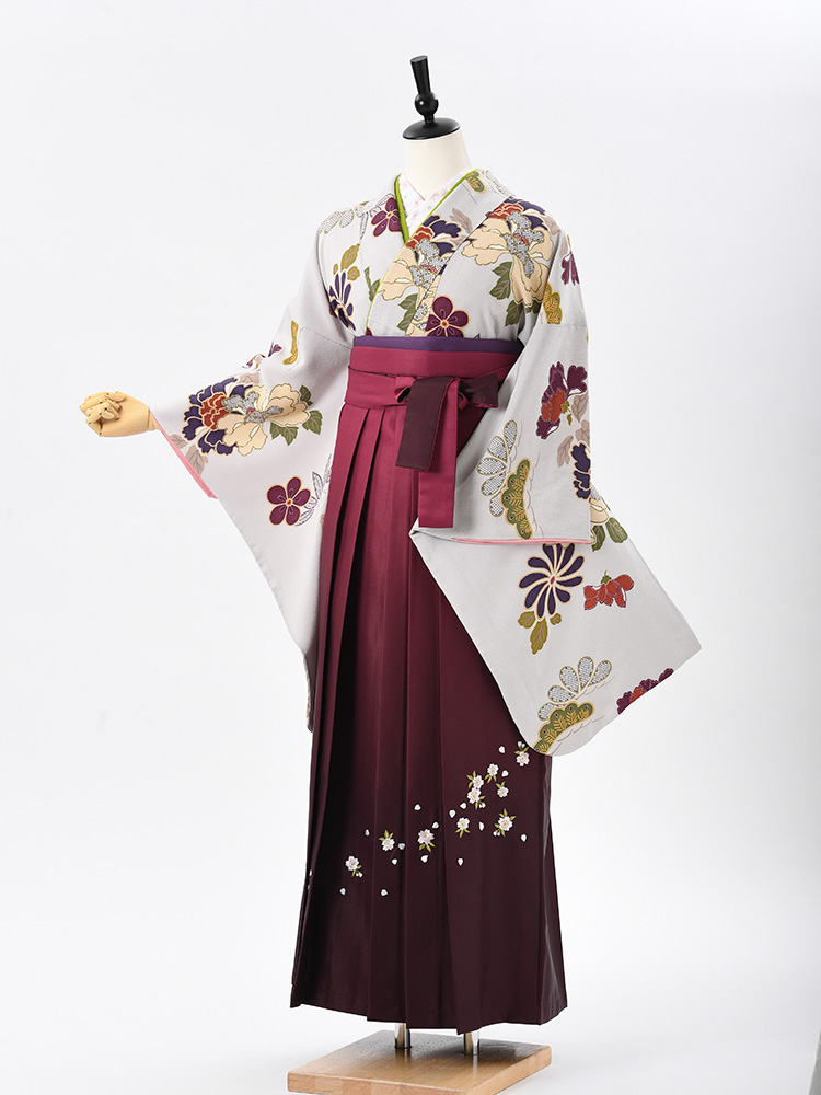 【高級卒業式袴レンタル】2-61 卒業式の袴レンタル・正絹二尺袖着物「グレー アンティーク風」 サイズ 花