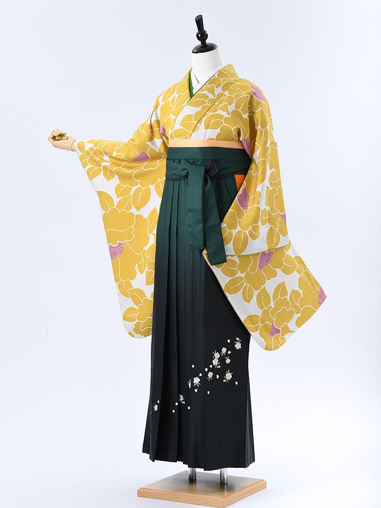 【高級卒業式袴レンタル】2-63 卒業式の袴レンタル・正絹二尺袖着物「黄色 椿」 サイズ 椿