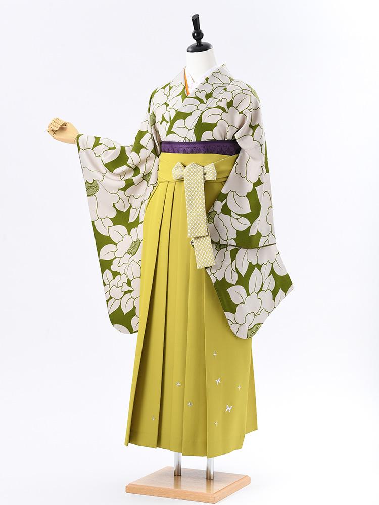 【高級卒業式袴レンタル】2-64 卒業式の袴レンタル・正絹二尺袖着物「抹茶色 椿」 サイズ 椿