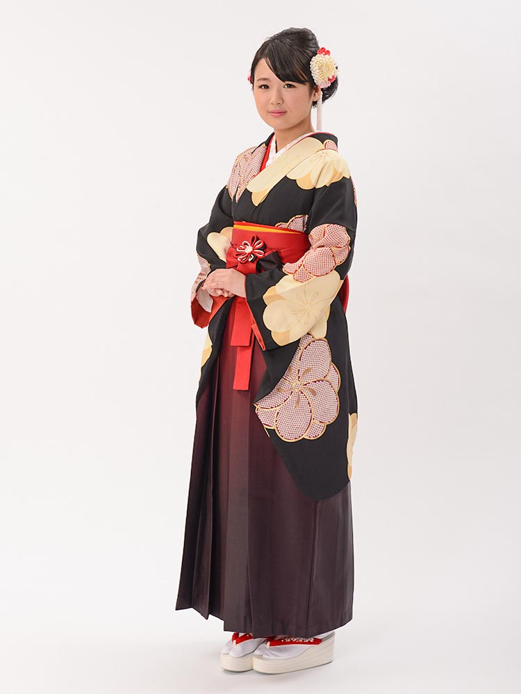 【高級卒業式袴レンタル】2-67 卒業式の袴レンタル・正絹二尺袖着物「黒地 ねじり梅」 サイズ 梅
