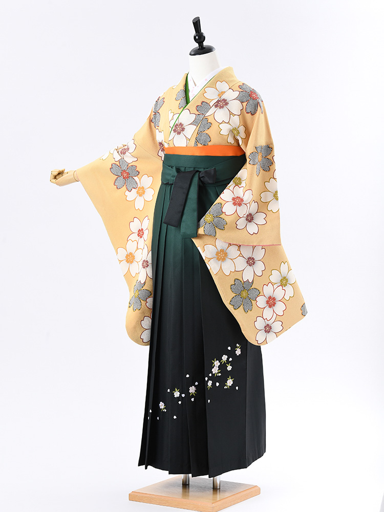 【高級卒業式袴レンタル】2-68 卒業式の袴レンタル・正絹二尺袖着物「アンティーク調 さくら」 サイズ 桜