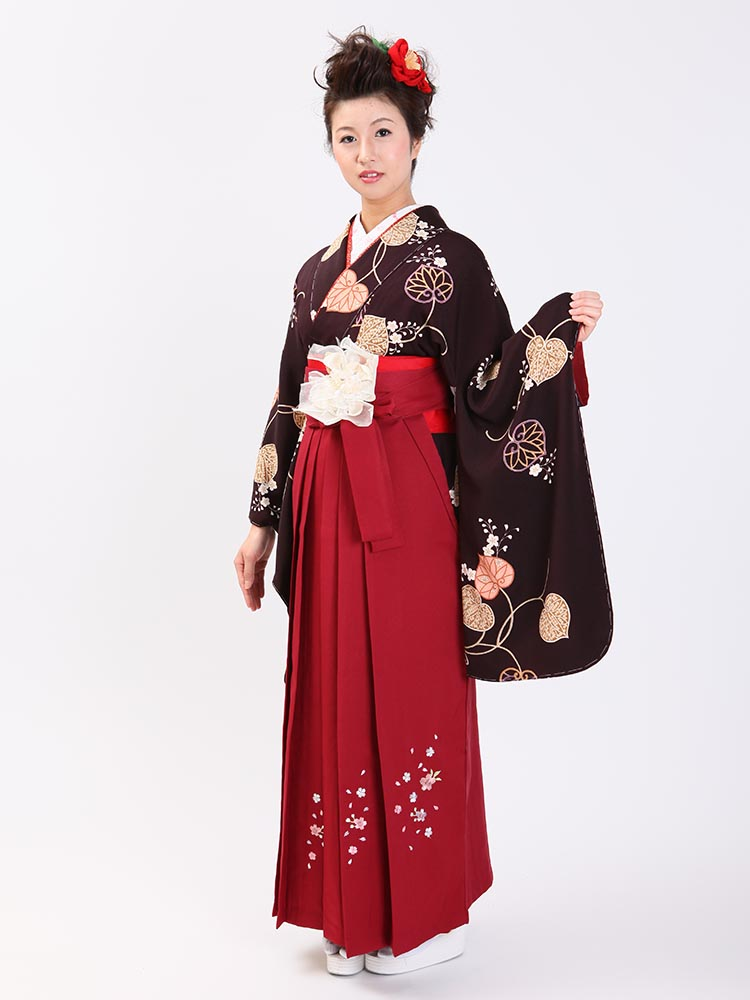 【高級卒業式袴レンタル】2-73 卒業式の袴レンタル・正絹二尺袖着物「濃い茶色 葵柄」 サイズ 葵