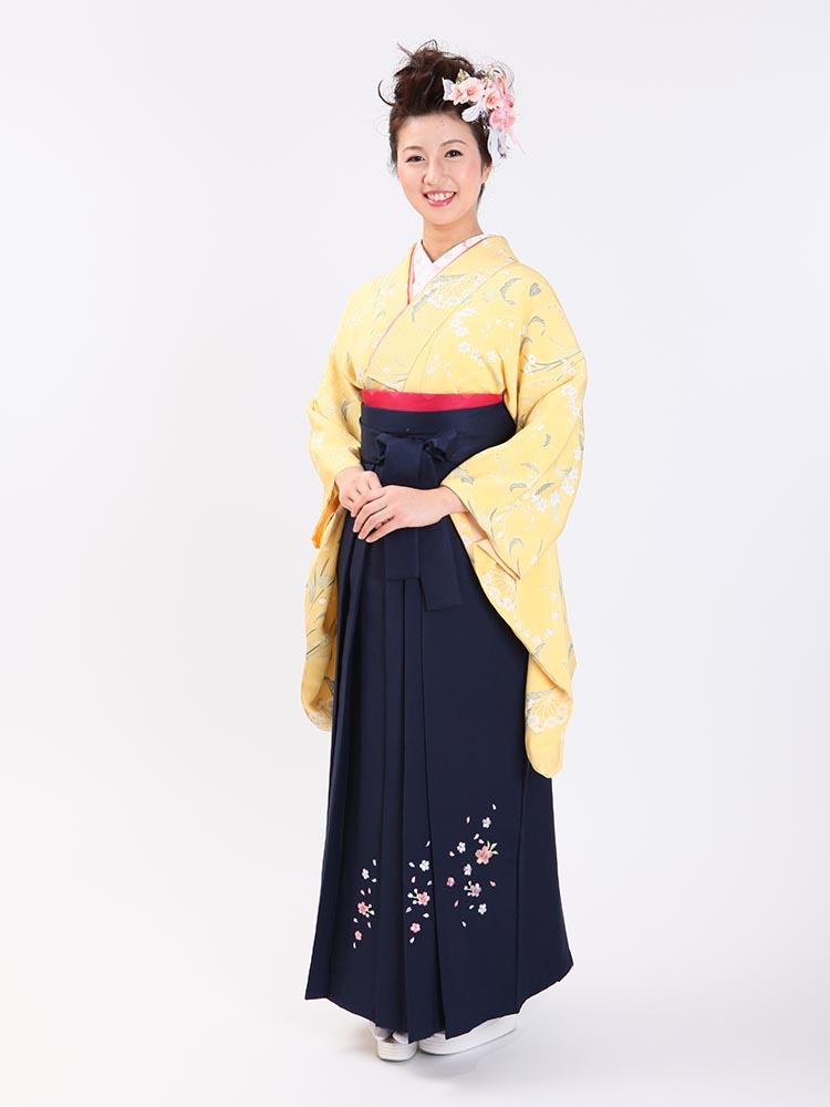 【高級卒業式袴レンタル】2-74 卒業式の袴レンタル・正絹二尺袖着物「鮮やかイエロー 小花」 サイズ 小花
