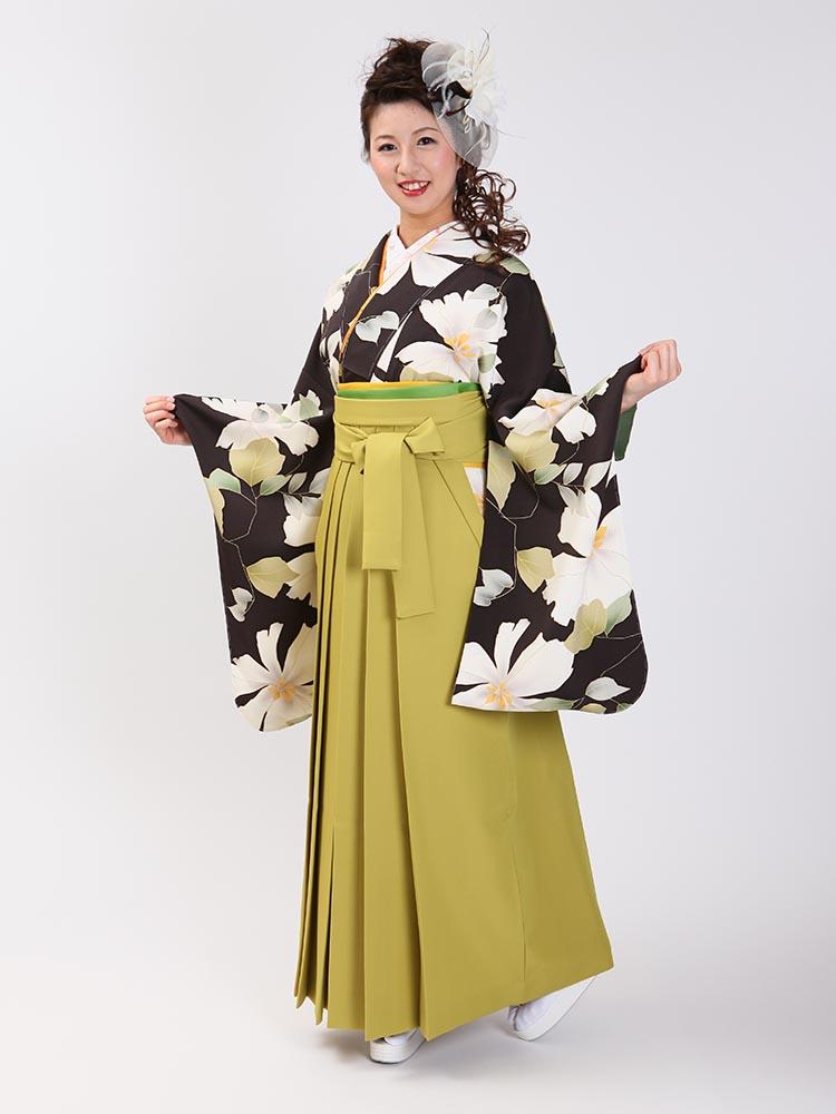 【高級卒業式袴レンタル】2-76 卒業式の袴レンタル・正絹二尺袖着物「こげ茶色 大きい花柄」 サイズ 花