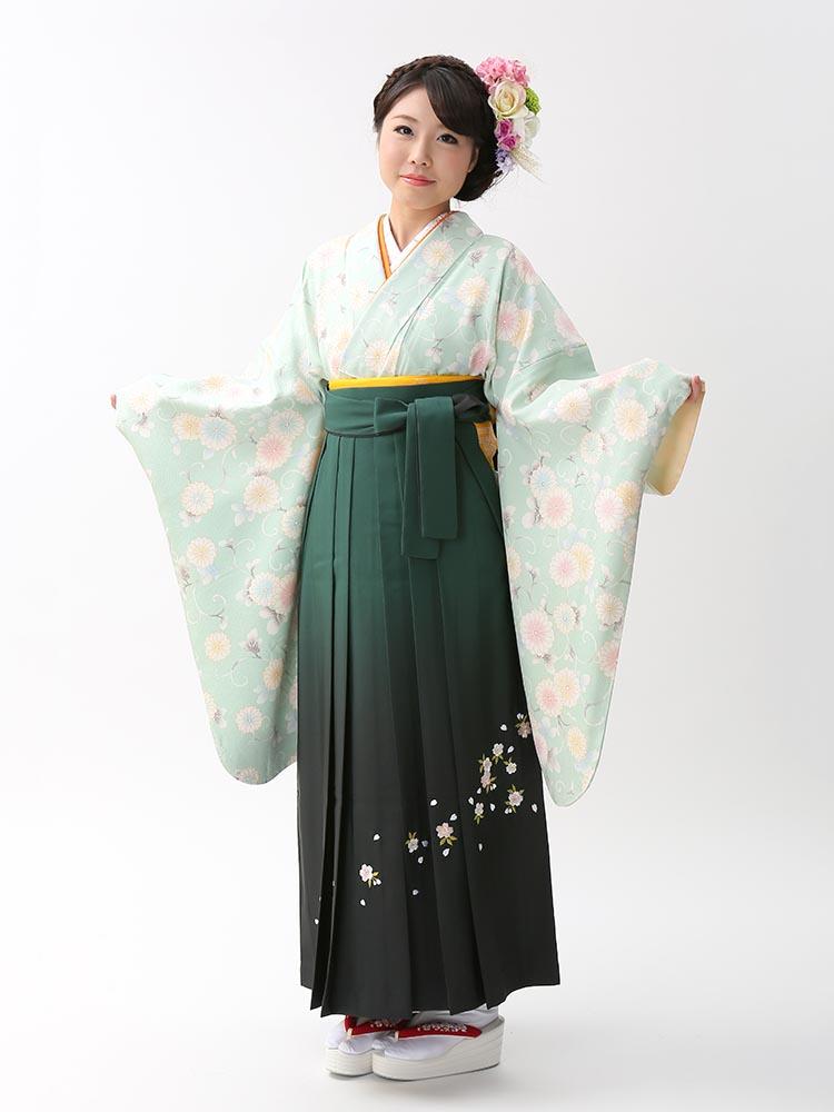 【高級卒業式袴レンタル】2-80 卒業式の袴レンタル・正絹二尺袖着物「ペパーミント 花」 サイズ 花