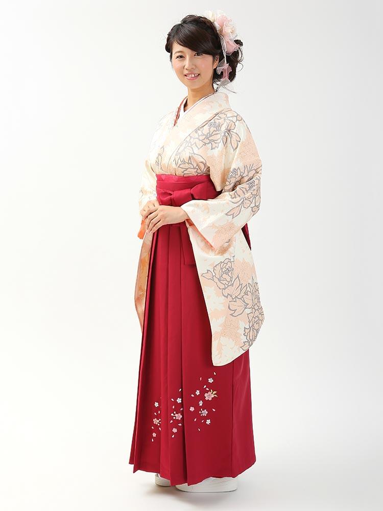 【高級卒業式袴レンタル】2-81 卒業式の袴レンタル・正絹二尺袖着物「白・淡いピンク 花」 サイズ 花