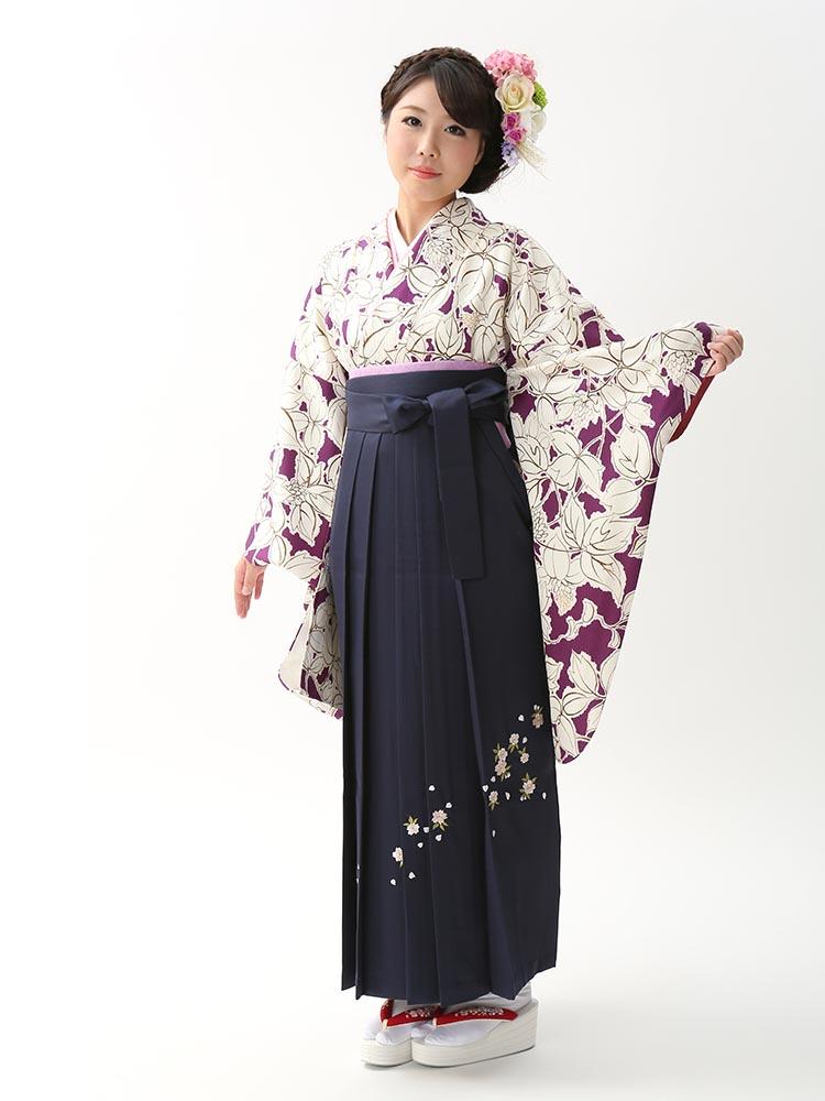 【高級卒業式袴レンタル】2-82 卒業式の袴レンタル・正絹二尺袖着物「紫・白 花」 サイズ 花