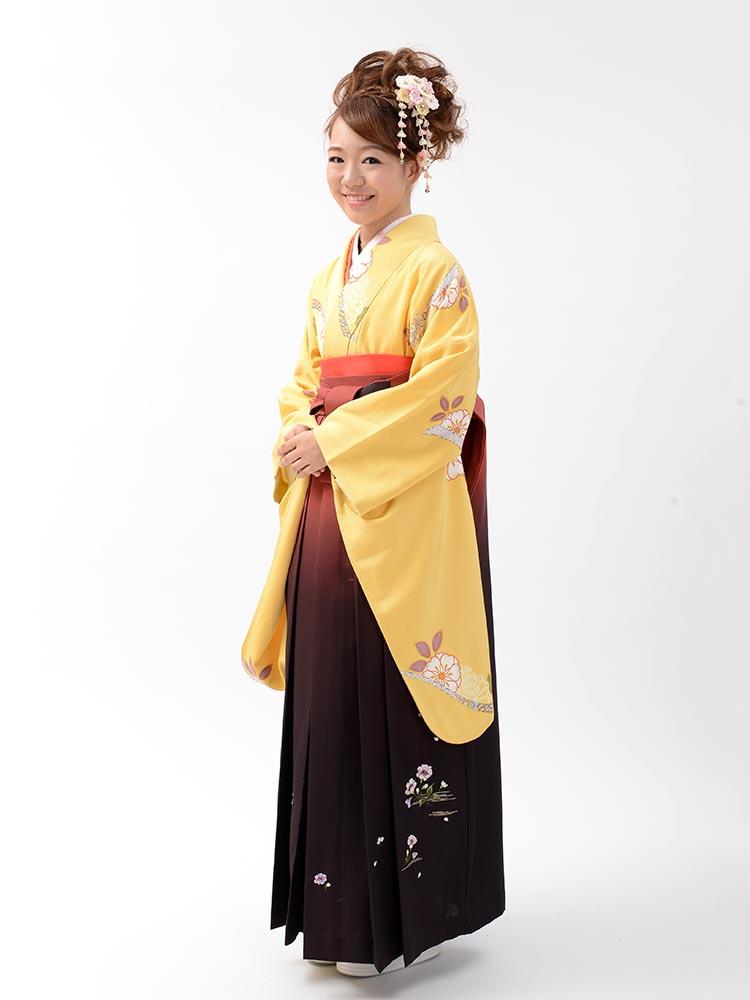 【高級卒業式袴レンタル】2-84 卒業式の袴レンタル・正絹二尺袖着物「黄色 花」 サイズ 花