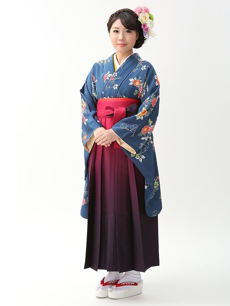 【高級卒業式袴レンタル】2-85 卒業式の袴レンタル・正絹二尺袖着物「紺 紅型」 サイズ 紅型