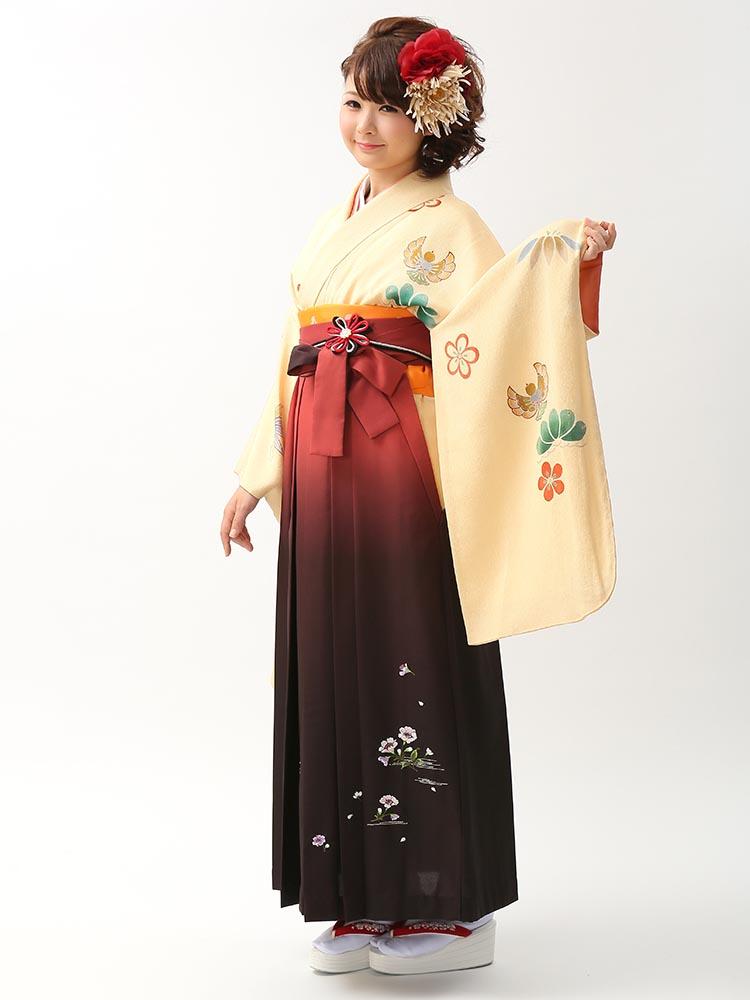 【高級卒業式袴レンタル】2-86 卒業式の袴レンタル・正絹二尺袖着物「淡い黄色 福良雀」 サイズ 福良雀