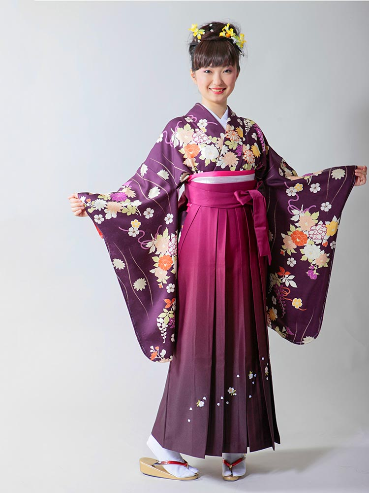 【高級卒業式袴レンタル】2-8 卒業式の袴レンタル・正絹二尺袖着物「紫地 立涌と花柄」 サイズ 立涌・花柄