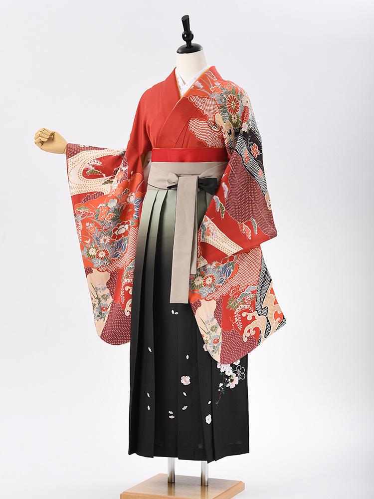 【高級卒業式袴レンタル】2-91 卒業式の袴レンタル・正絹二尺袖着物「赤 古典絵羽柄」 サイズ 花