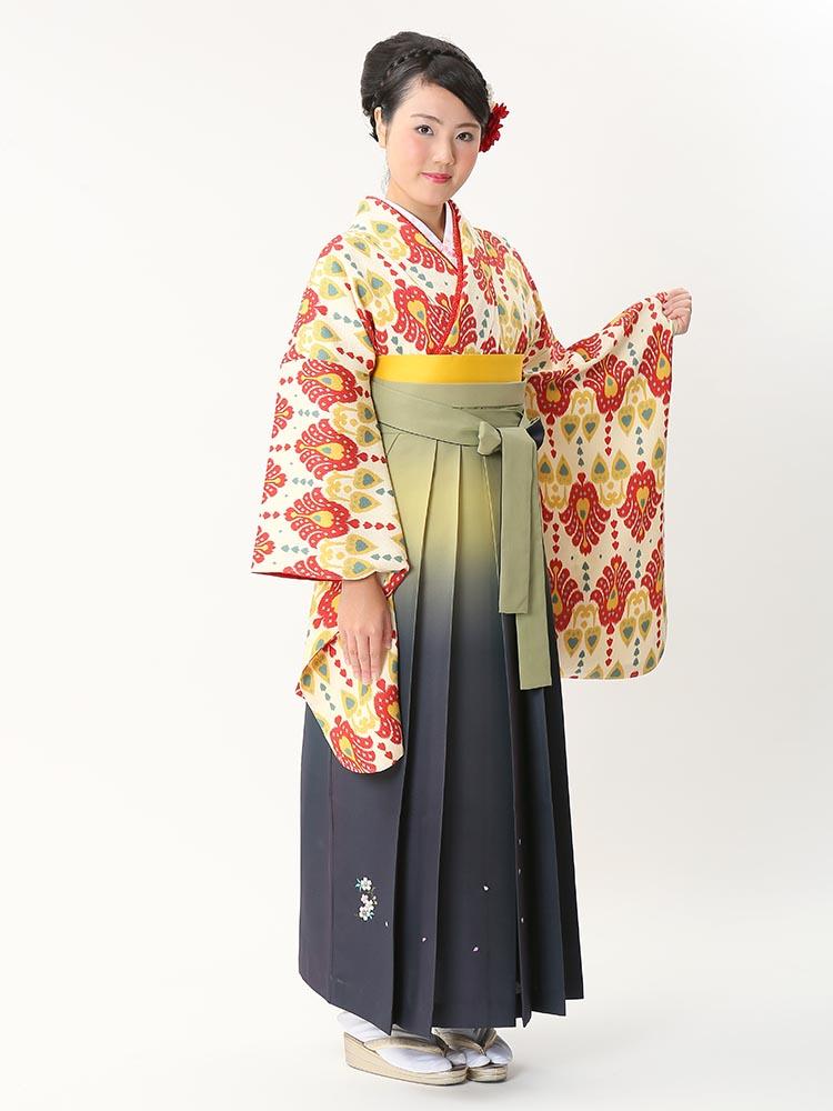 【高級卒業式袴レンタル】2-96 卒業式の袴レンタル・正絹二尺袖着物「黄色・赤 オリジナル柄」 サイズ オリジナル
