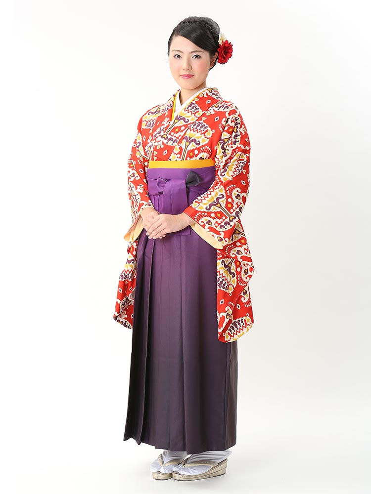 【高級卒業式袴レンタル】2-97 卒業式の袴レンタル・正絹二尺袖着物「赤 オリジナル柄」 サイズ オリジナル