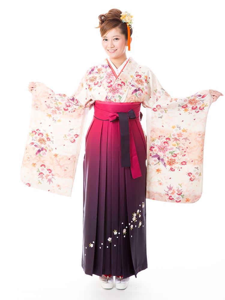【高級卒業式袴レンタル】2-m2 卒業式の袴レンタル・正絹二尺袖着物「淡いピンクと白地 洋花」 サイズ 洋花