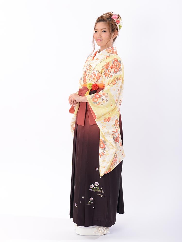 【高級卒業式袴レンタル】2-m3 卒業式の袴レンタル・正絹二尺袖着物「淡い黄色と白の市松 花柄」 サイズ 市松・花柄