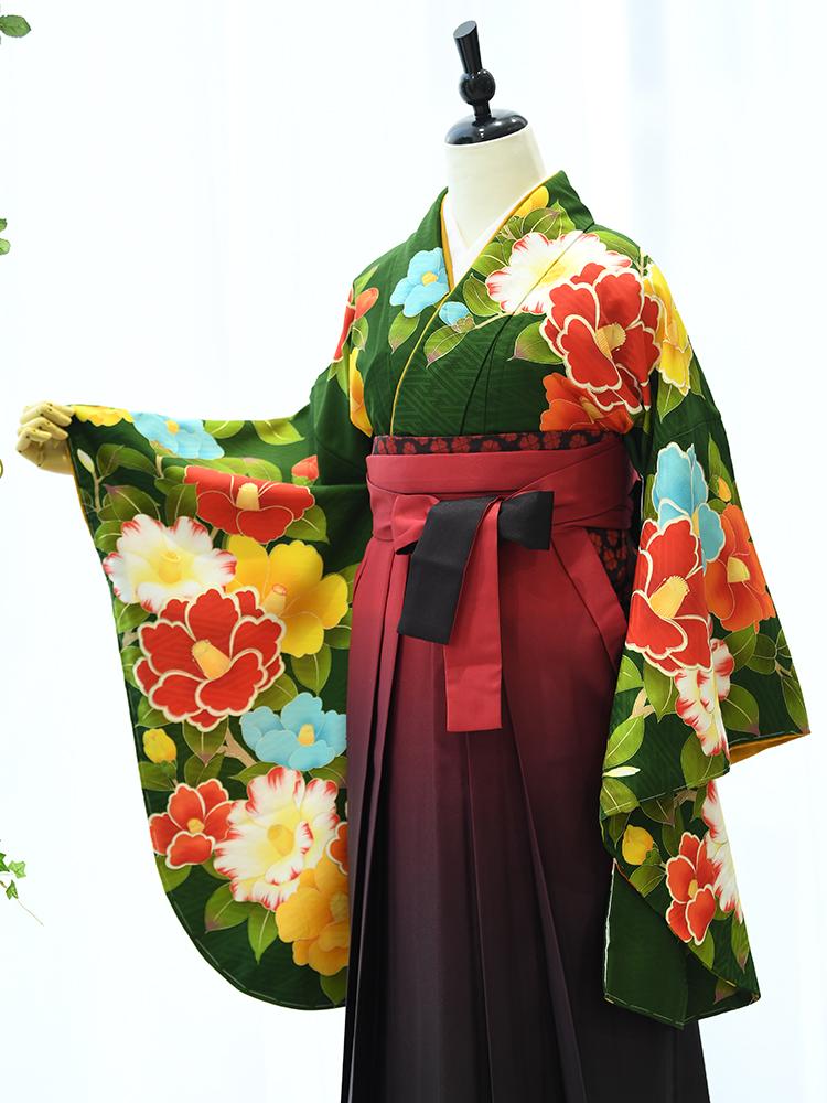 【高級卒業式袴レンタル】2p-50 卒業式の袴レンタル 「深いグリーン・花」 spiral girl