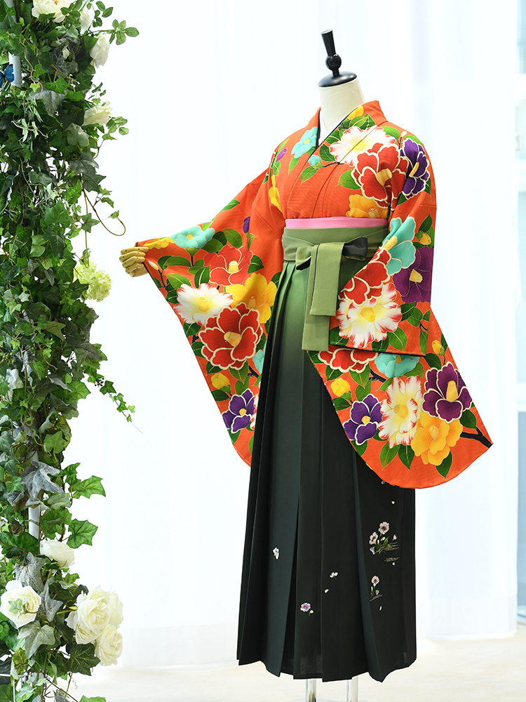【高級卒業式袴レンタル】2p-51 卒業式の袴レンタル 「あざやかオレンジ・花」 spiral girl