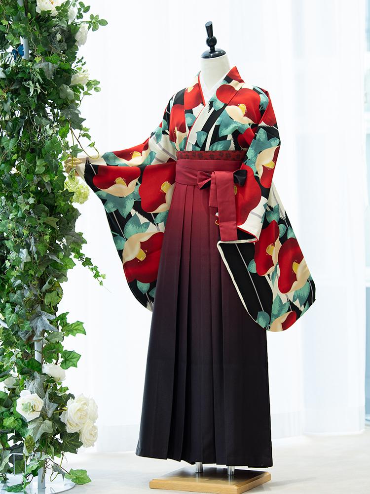 【高級卒業式袴レンタル】2p-52 卒業式の袴レンタル 「黒・白の矢絣・椿」 emma×紅一点