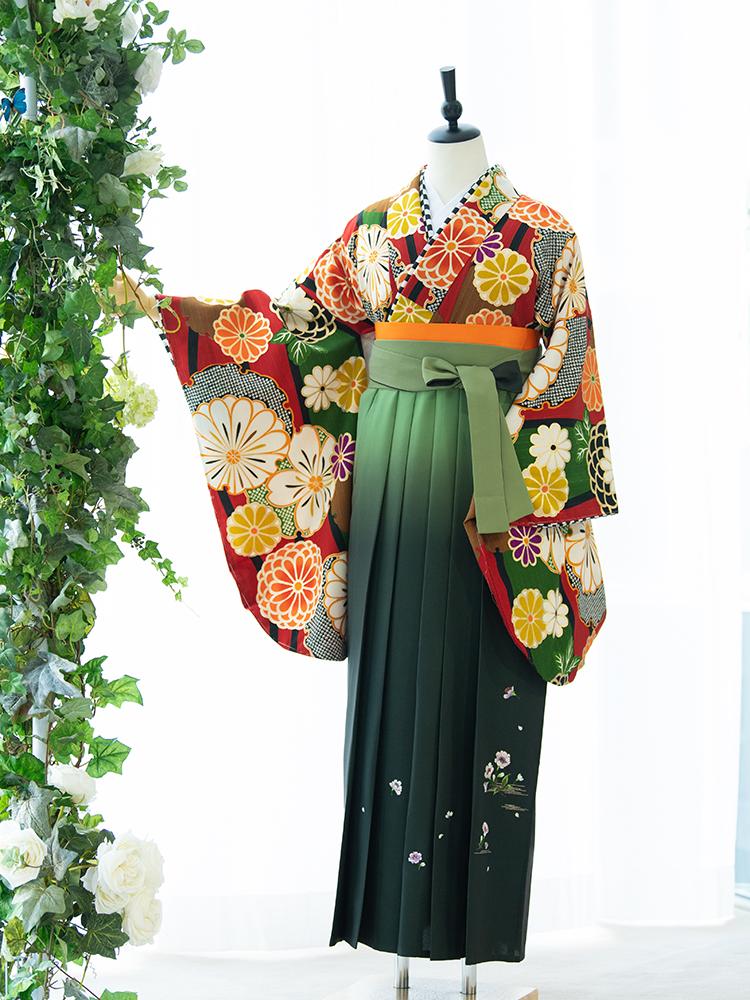 【高級卒業式袴レンタル】2p-53 卒業式の袴レンタル 「大正レトロ 花柄」 Japan Style