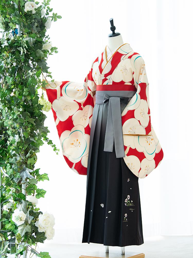 【高級卒業式袴レンタル】2p-54 卒業式の袴レンタル 「赤・梅」 emma×紅一点