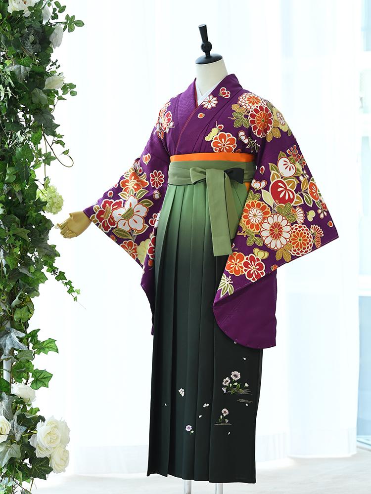 【高級卒業式袴レンタル】2p-55 卒業式の袴レンタル 「紫・花」 九重