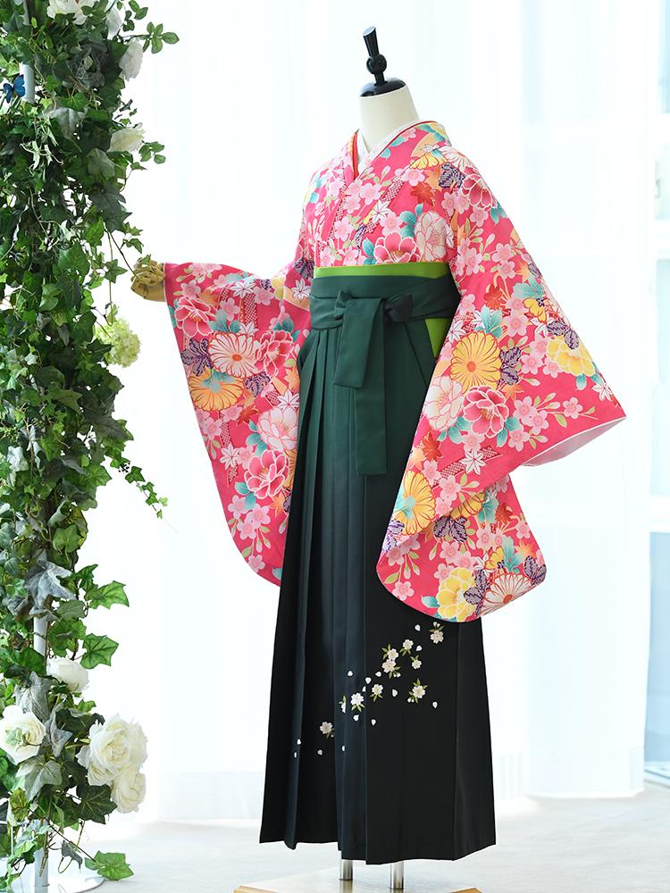 【高級卒業式袴レンタル】2p-56 卒業式の袴レンタル 「かわいいピンク・花柄」