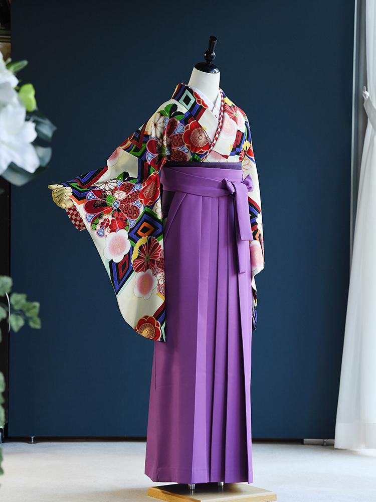 【高級卒業式袴レンタル】2p-58 卒業式の袴レンタル 「大正レトロ 白地・古典」 Japan Style