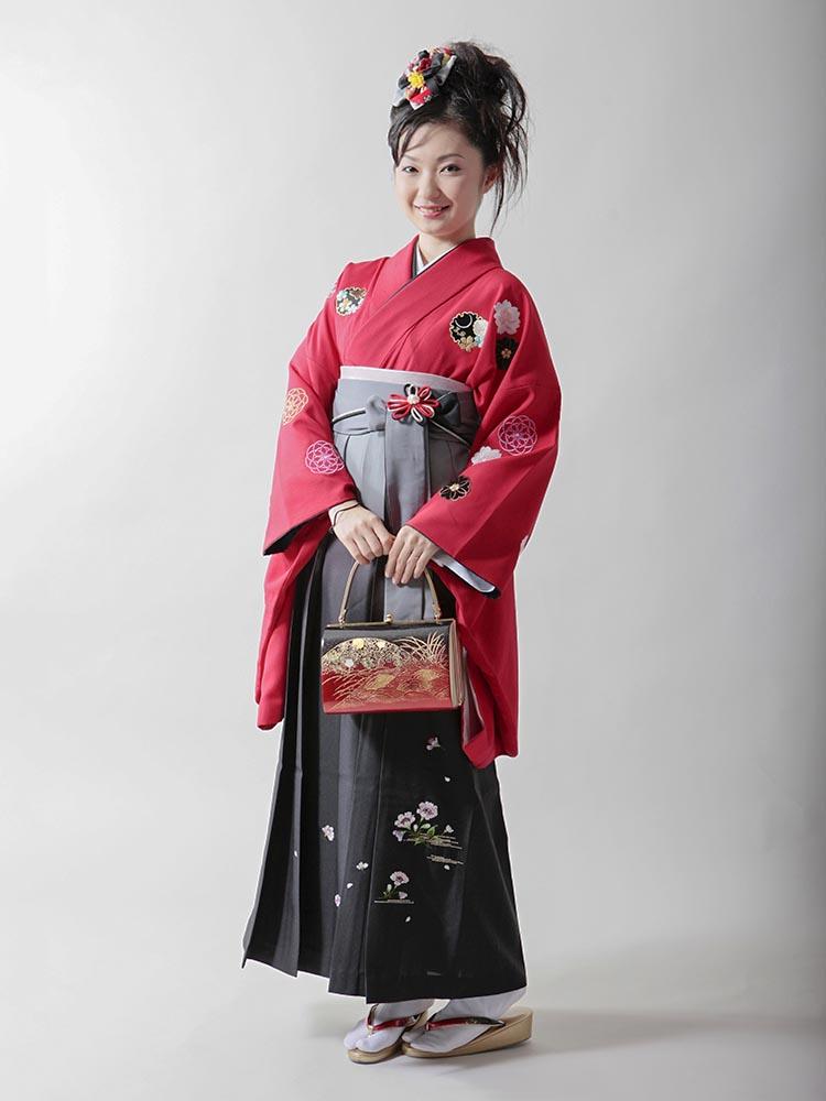 【高級卒業式袴レンタル】2p-5 赤色 菊丸文と雪輪 サイズ 菊丸文と雪輪