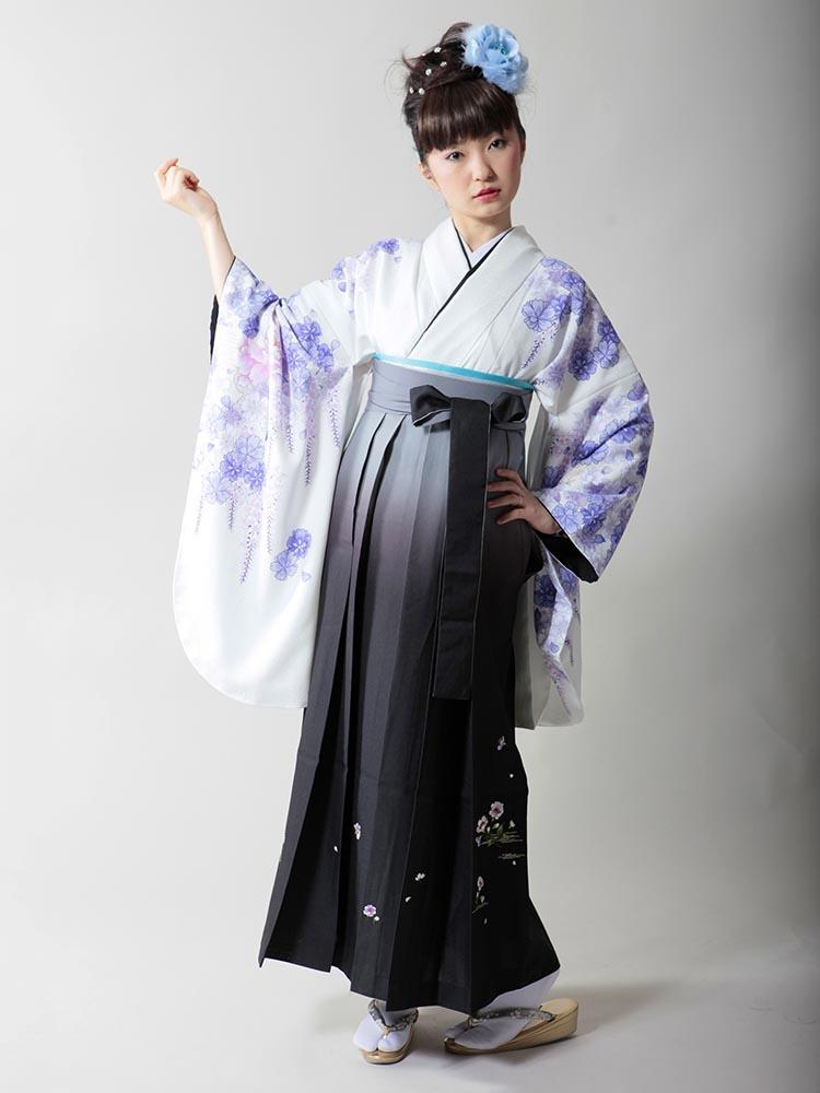 【高級卒業式袴レンタル】2p-6 白地 青い藤や花柄 サイズ 藤・花柄