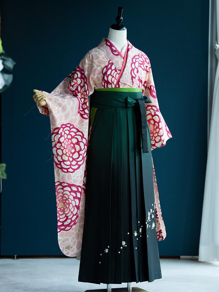 【高級卒業式袴レンタル】906f 卒業式の袴レンタル 「淡いピンク・菊」 ツモリチサト 振袖+袴