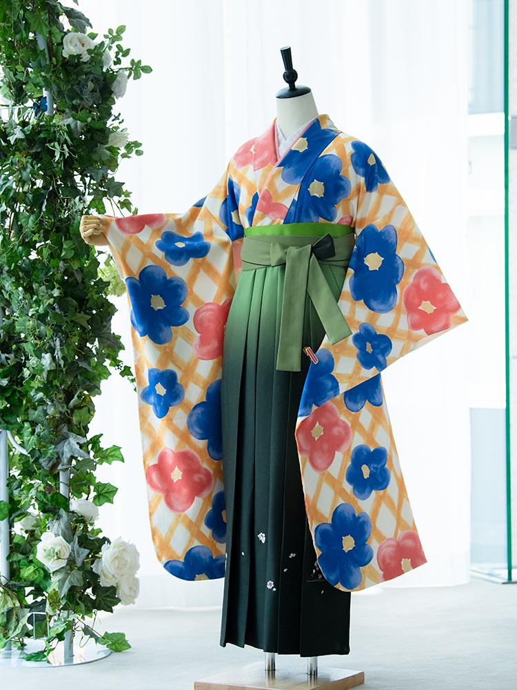 【高級卒業式袴レンタル】907f 卒業式の袴レンタル 「格子・花」 ツモリチサト 振袖+袴