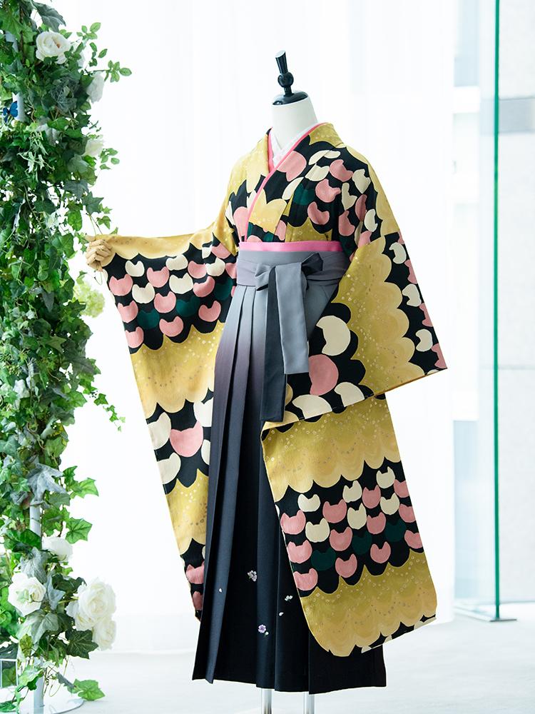 【高級卒業式袴レンタル】908f 卒業式の袴レンタル 「黄色・黒・ねこ」 ツモリチサト 振袖+袴