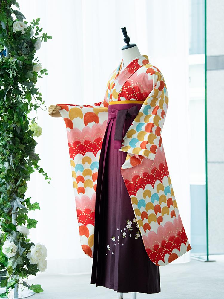 【高級卒業式袴レンタル】909f 卒業式の袴レンタル 「カラフル・ねこ」 ツモリチサト 振袖+袴
