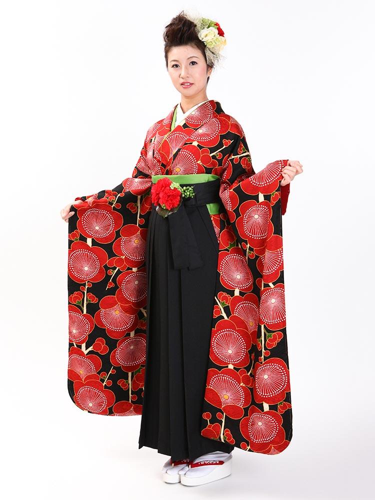 【高級卒業式袴レンタル】FU-10 赤地 梅柄 サイズ 梅
