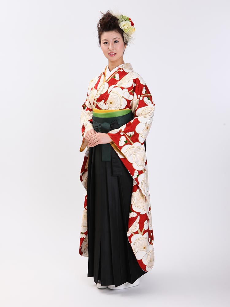 【高級卒業式袴レンタル】FU-11 黒地 梅柄 サイズ 梅
