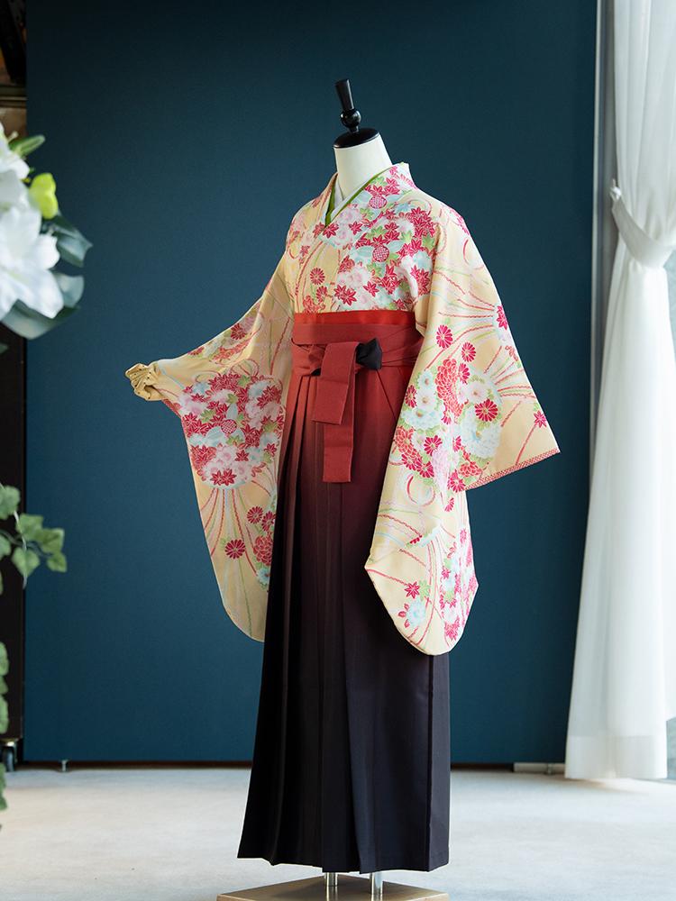 【高級卒業式袴レンタル】n-001 黄色に花の丸文と組紐 サイズ 花の丸文