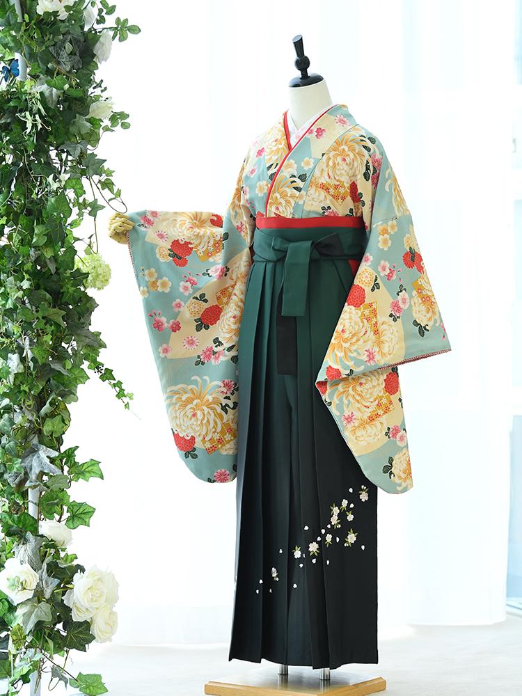 【高級卒業式袴レンタル】n-003 水色に色紙と乱菊 サイズ 乱菊