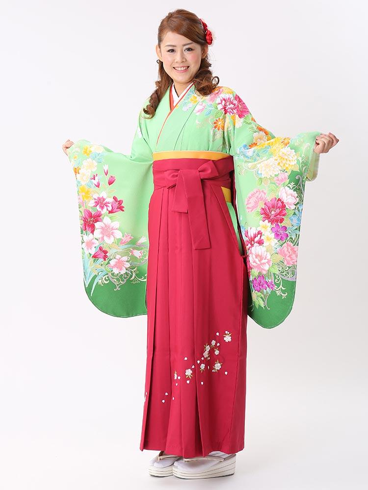 【高級卒業式袴レンタル】p-26-19 黄緑 百合と洋花 サイズ 百合・洋花