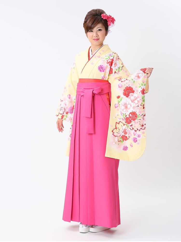 【高級卒業式袴レンタル】p-26-20 淡い黄色 桜と洋花 サイズ 桜・洋花