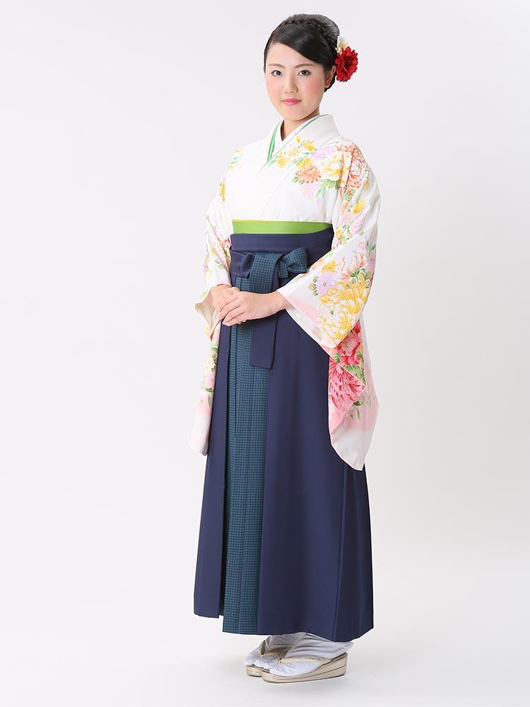 【高級卒業式袴レンタル】p-26-21 白地 乱菊と洋花 サイズ 乱菊・洋花