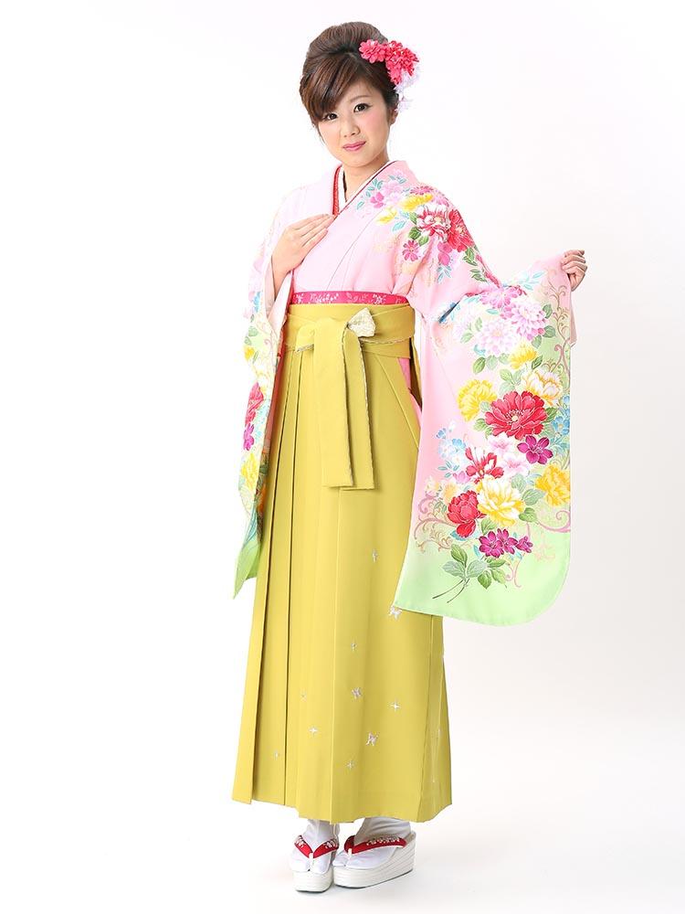 【高級卒業式袴レンタル】p-26-22 淡いピンク 百合と洋花 サイズ 百合と洋花