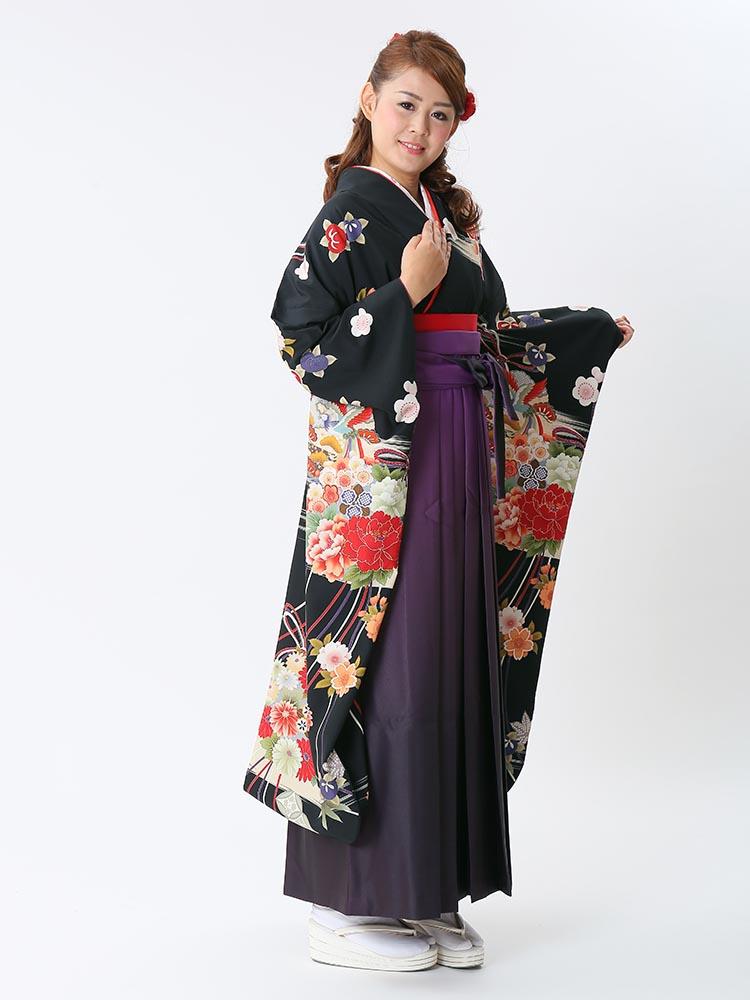 【高級卒業式袴レンタル】ws-10 黒地に古典柄 サイズ 古典柄